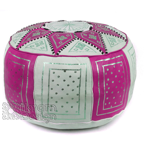 Fuchsia / Beige Fez Moroccan Leather Pouf - Click Image to Close