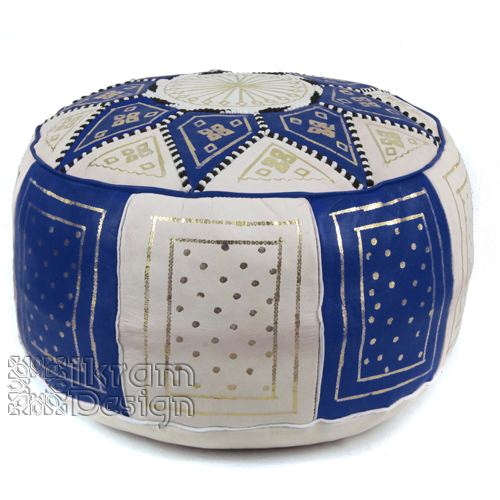 Navy Blue / Beige Fez Moroccan Leather Pouf