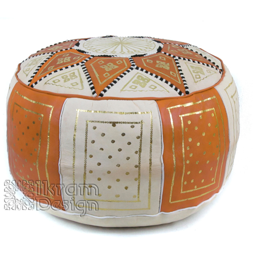 Orange / Beige Fez Moroccan Leather Pouf - Click Image to Close