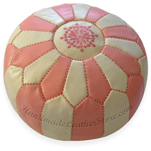 Moroccan Leather Pouf, Pouffe, Ottoman, Color : White / Pink