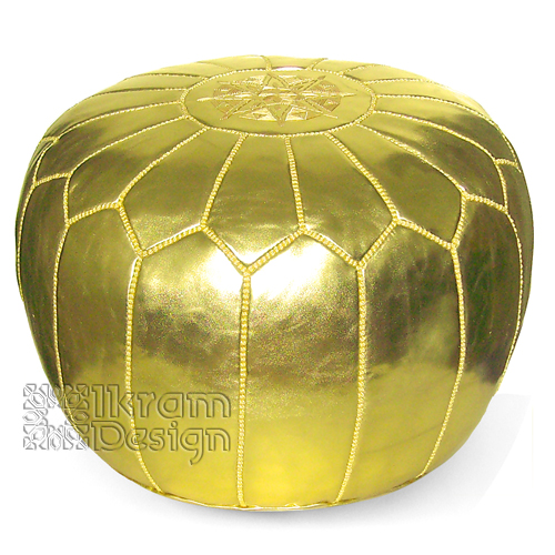Metallic Gold Moroccan Pouf