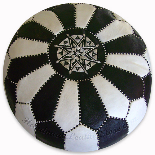 Moroccan Leather Pouf, Pouffe, Ottoman, Color : White / Black