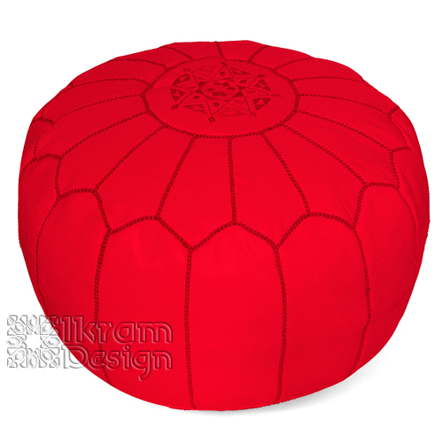 Red Moroccan Leather Pouf