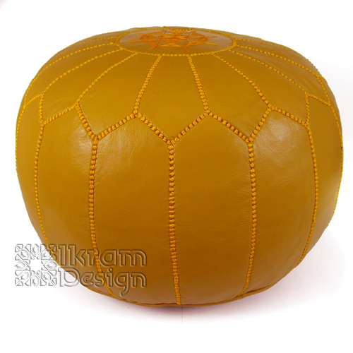 Mustard Moroccan Leather Pouf
