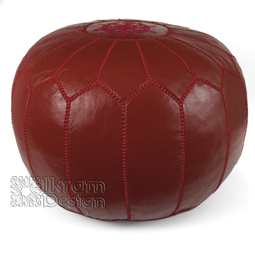 Garnet Moroccan Leather Pouf - Click Image to Close