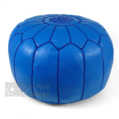 Light Navy Blue Moroccan Leather Pouf