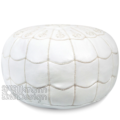 White Moroccan Leather Pouf with arch design