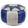 Navy / Beige Fez Moroccan Leather Pouf