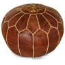 Brown Moroccan Leather Pouf