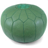 Olive Green Moroccan Leather Pouf
