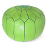 Lime Green Moroccan Leather Pouf